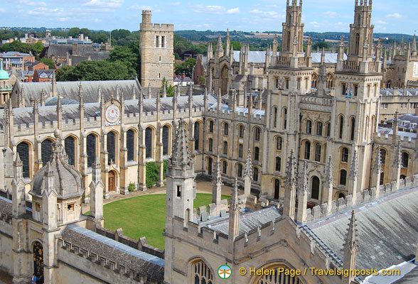 View of All Souls College from St Mary's tower