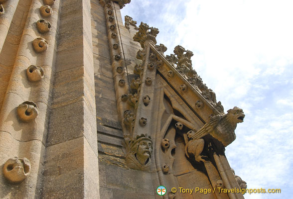 Gargoyles form part of the decoration of St Mary's church spire