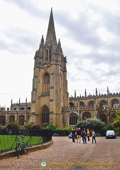 The University Church of St Mary the Virgin.  From the 13th century tower you can get the best views of Oxford