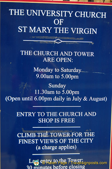 Opening times of St. Mary's tower