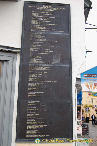Names of pilgrims who sailed from the Barbican in the Mayflower in 1620