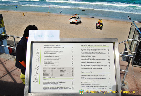 Menu of the Porthmeor Beach Restaurant