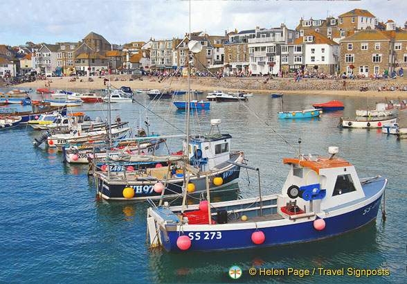 The colourful boats in St Ives Bay