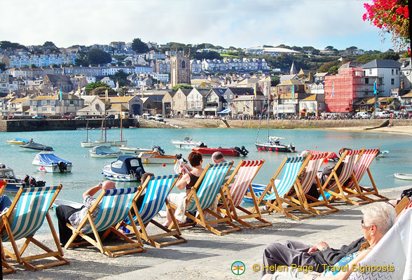 Enjoying the sun on St Ives harbour