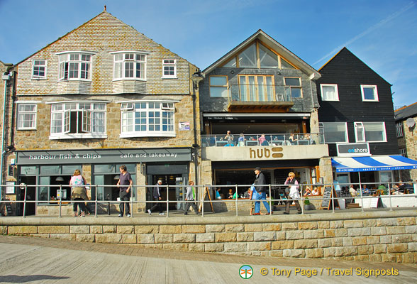 Restaurants along St. Ives Harbourfront