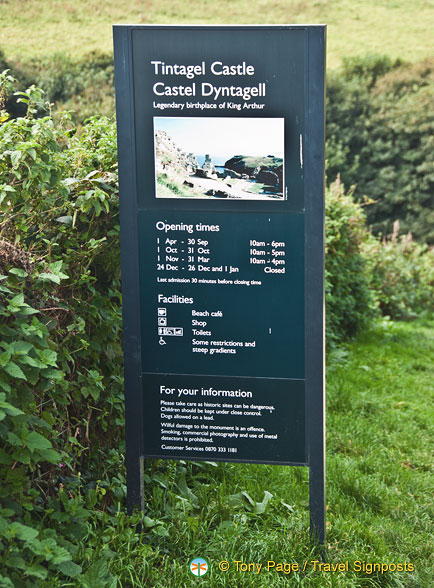 Opening times for Tintagel Castle