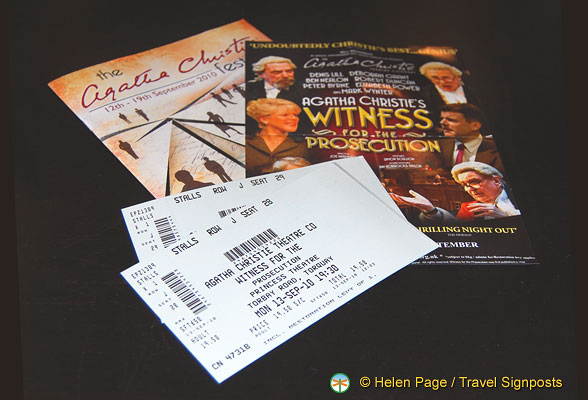 Program and tickets for Agatha Christie's Witness for the Prosecution