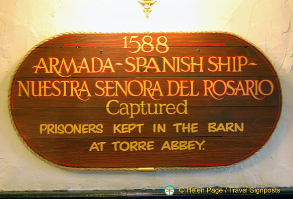 About the 1588 capture of the Nuestra Senora del Rosario, a Spanish Armada ship.  The prisoners were kept in the barn at Torre Abbey.