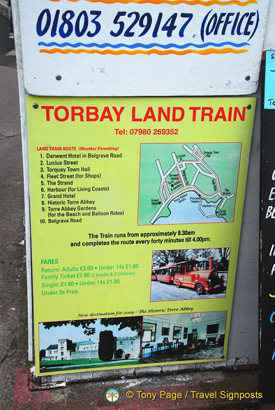 Map of where to pick up the Torbay Land Train