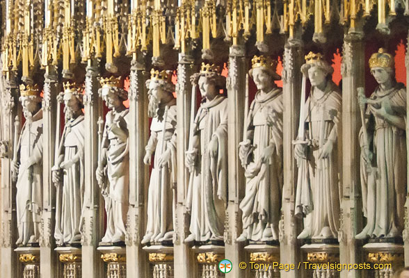 This exquisite Choir Screen has sculptures of 15 kings from William I to Henry VI