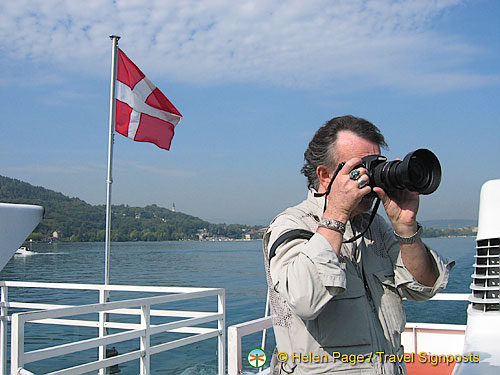 Taking snaps on the Lake Annecy boat cruise