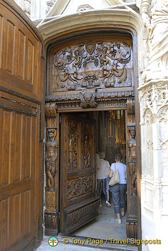 Famous walnut door of St Pierre