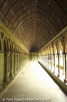 The columns in staggered rows are a good example of 13th century Anglo-Norman style [Mont-St-Michel - France]