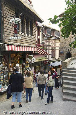 The Grande Rue is now filled with restaurants and souvenir shops (lots of tacky ones) [Mont-St-Michel - France]