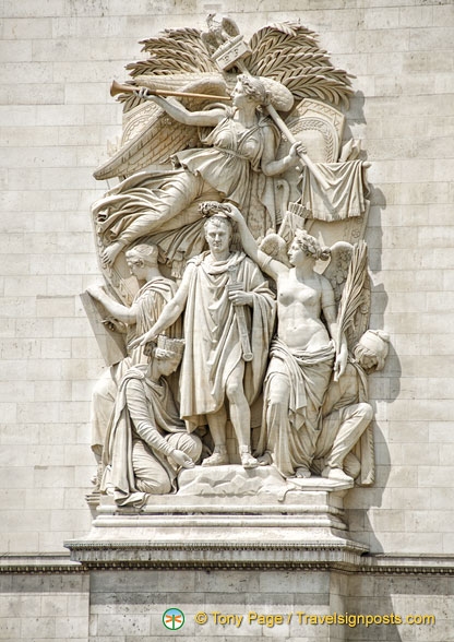 Le Triomphe de 1810, one of the four main sculptures on the Arc de Triomphe