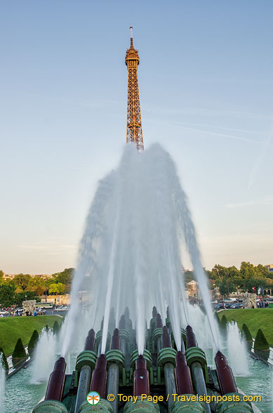 View of the Eiffel Tower from the water canons