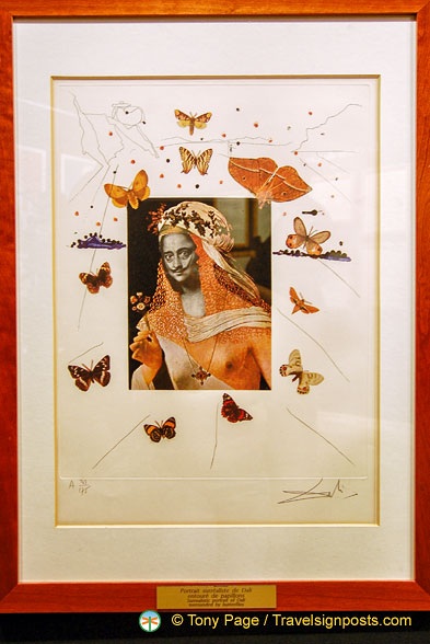 Surrealistic portrait of Dalí surrounded by butterflies