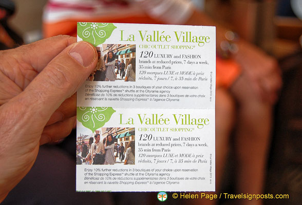 Our tickets for La Vallée Village