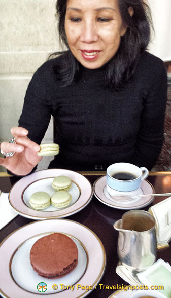 Me, enjoying my pistachio macarons