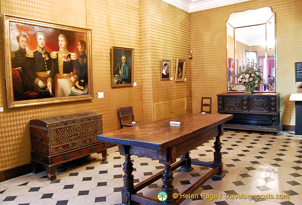 The Antechamber with family portraits and mementos of Victor Hugo's youth