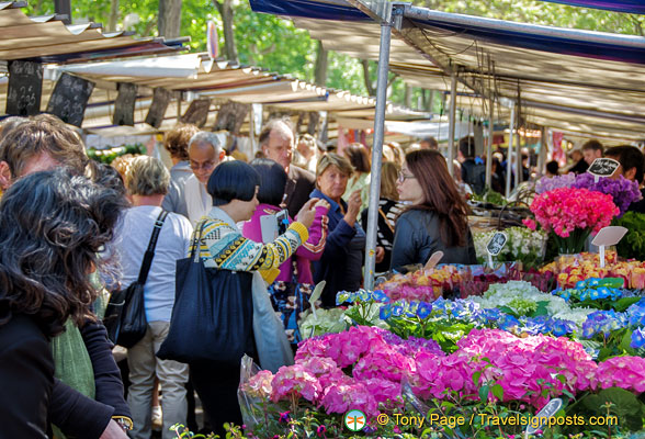 Flower section at Marché Président Wilson