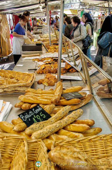 Baguette and pastries at Marché Président Wilson