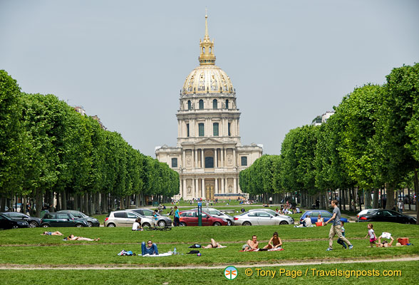 Distant view of Les Invalides from Marché Saxe-Breteuil