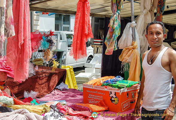 Stall selling scarfs at Marché Saxe-Breteuil