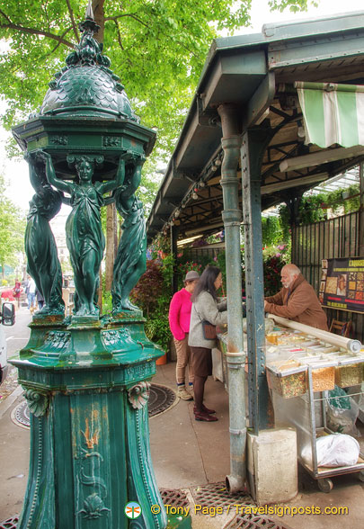A Wallace fountain at the Marché aux oiseaux