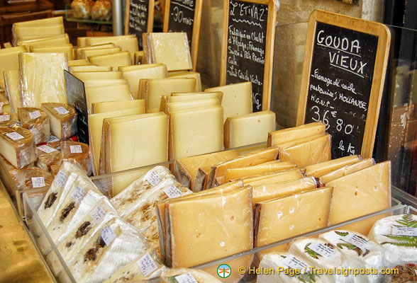 Aged Gouda and other cheeses at Marché des Enfants Rouges