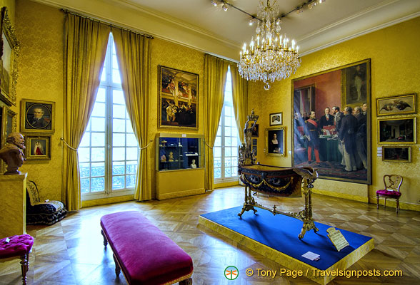In centre of the room is the pageantry cradle of Prince Imperial Louis Napoleon