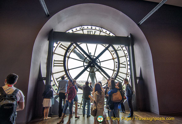 View of the Seine through the giant clock face