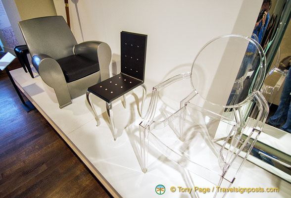"Phillipe Starck ""Ghost"" chair and other furniture at the Musée des Arts Décoratifs"