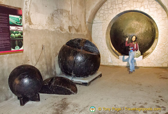 Balls used to clean the sewer tunnels by pushing out the water