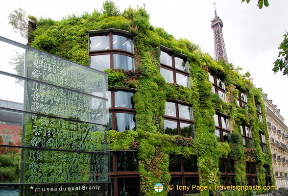 The very green facade of the Quai Branly Museum