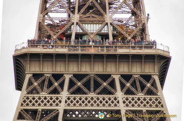 People on the Eiffel Tower as seen from the Quai Branly Museum