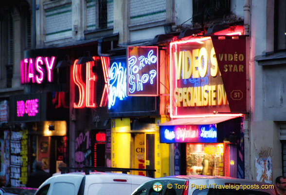 Neon signs competing for attention