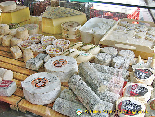 Beautiful french cheeses available at the market