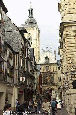 Rue du Gros Horloge runs west from the cathedral [Rouen - France]