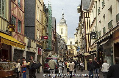 Rue du Gros Horloge is lined with smart shops and cafes [Rouen - France]