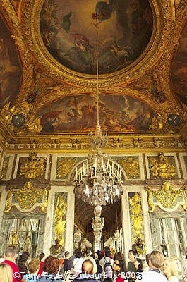 Hall of Mirrors - The paintings on the ceiling illustrate events in the life of King Louis XIV