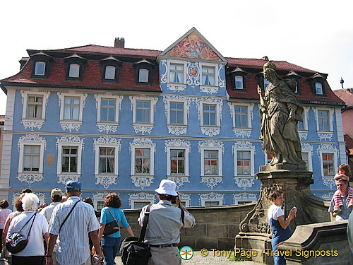 The Wedgewood blue Hellerhaus was the birth place of Joseph Heller, a local businessman, historian and art collector
