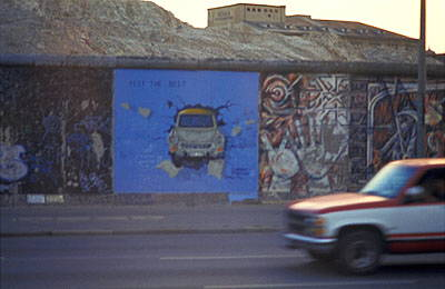 The famous Berlin Wall graffiti