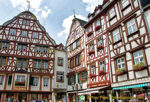 Beautiful timber-frame buildings in Bernkastel Marktplatz