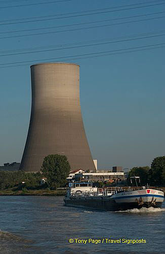 Power plant cooling tower along the Rhine