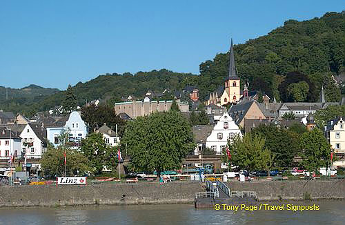 The town of Linz as seen from our Rhine River Cruise