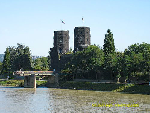 Remagen bridge towers as viewed from a Rhine River Cruise