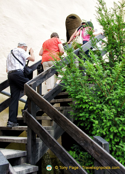Climbing to Marksburg courtyard with central keep