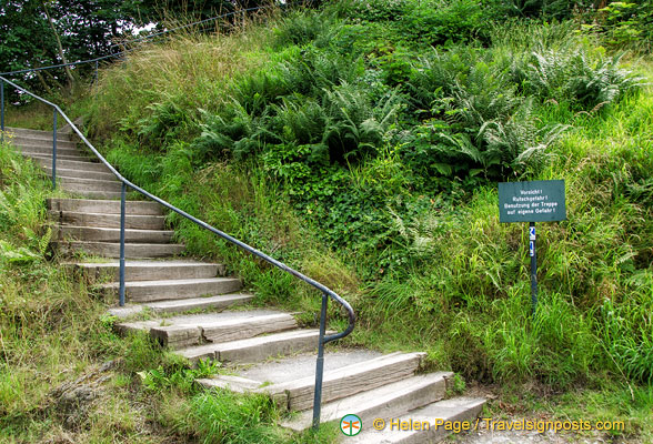 Steps up to Marksburg castle and other attractions