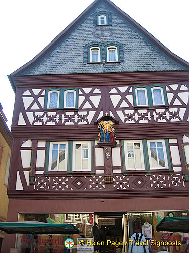 In Miltenberg look up past the lst floor of buildings and you'll see interesting adornments